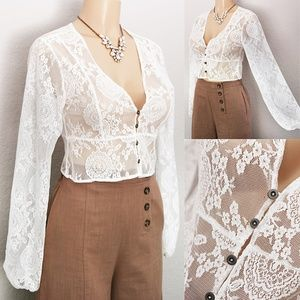 Ups & Downs Tops - White Sheer Lace V Neck Button Cropped Blouse Top
